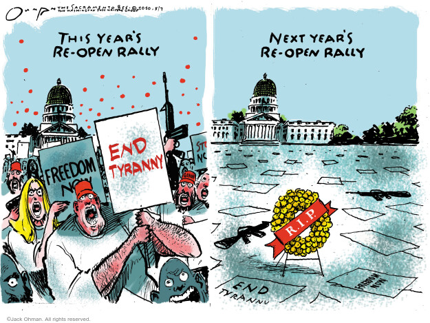 Cartoonist Jack Ohman  Jack Ohman's Editorial Cartoons 2020-05-07 social distancing