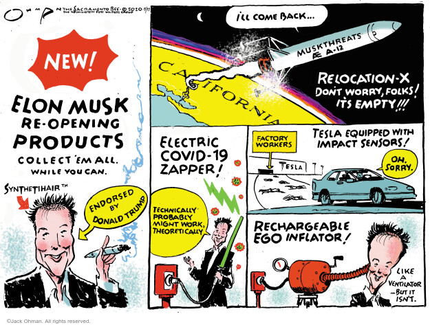 Cartoonist Jack Ohman  Jack Ohman's Editorial Cartoons 2020-05-17 technology