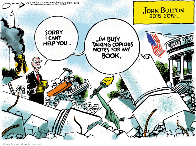 Cartoonist Jack Ohman  Jack Ohman's Editorial Cartoons 2020-06-25 political scandal