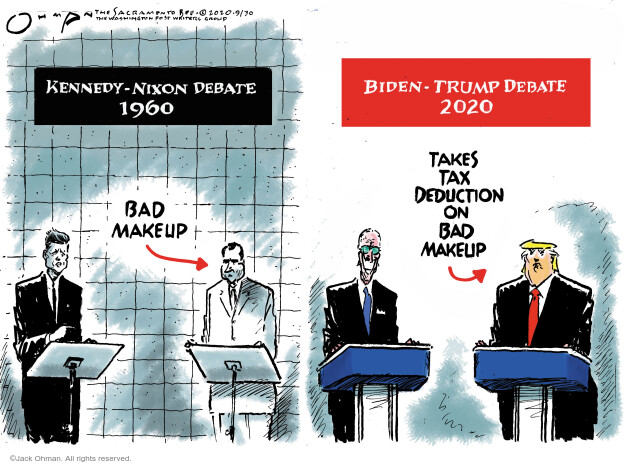 Jack Ohman  Jack Ohman's Editorial Cartoons 2020-09-30 2020 election Democratic debate