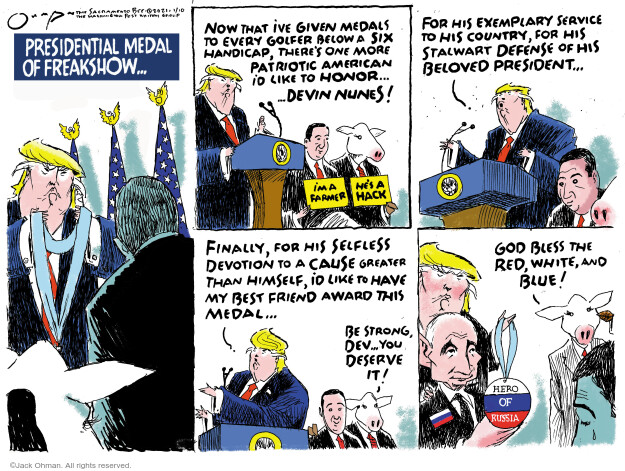Jack Ohman  Jack Ohman's Editorial Cartoons 2021-01-10 Donald Trump farmer