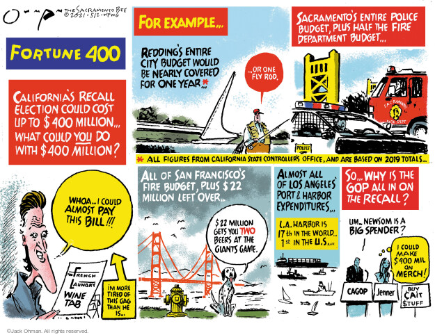 Jack Ohman  Jack Ohman's Editorial Cartoons 2021-05-02 state budget