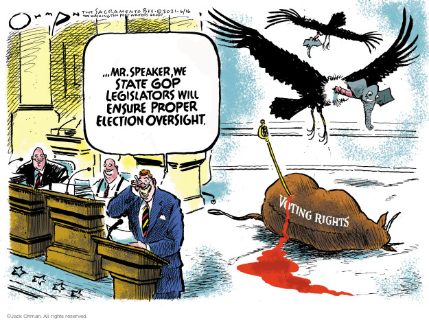 Jack Ohman  Jack Ohman's Editorial Cartoons 2021-06-16 voting rights