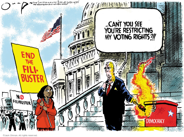 Jack Ohman  Jack Ohman's Editorial Cartoons 2021-06-25 voting rights