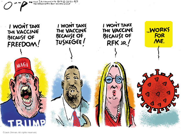 Jack Ohman  Jack Ohman's Editorial Cartoons 2021-08-03 outbreak