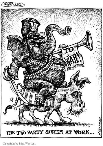 The two party system at work…  To war!  (Republican elephant rides on the back of a democratic donkey.)
