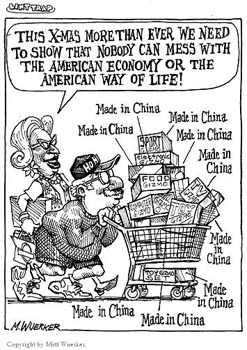 This X-Mas more than ever we need to show that nobody can mess with the American economy or the American way of life!  Made in China.  Made in China.  Made in China.  Sport Gizmo.  Electronic Gizmo.  Food Gizmo.  TV Gizmo.  Computer Gizmo.  Toy Gizmo.  Toy Gizmo set.  Made in China.