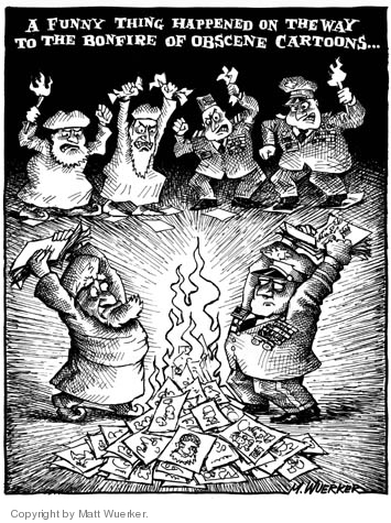 """A funny thing happened on the way to the bonfire of obscene cartoons…. (Joint Chiefs of Staff objecting to Tom Toles """"stretched thin"""" cartoon join with the Muslims protesting the Danish cartoons that satirize the Prophet Muhammad.)"""