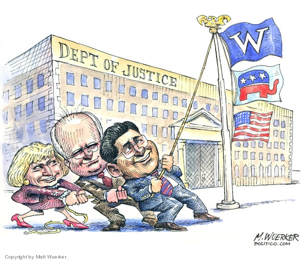 Cartoonist Matt Wuerker  Matt Wuerker's Editorial Cartoons 2007-03-22 George W. Bush Alberto Gonzales