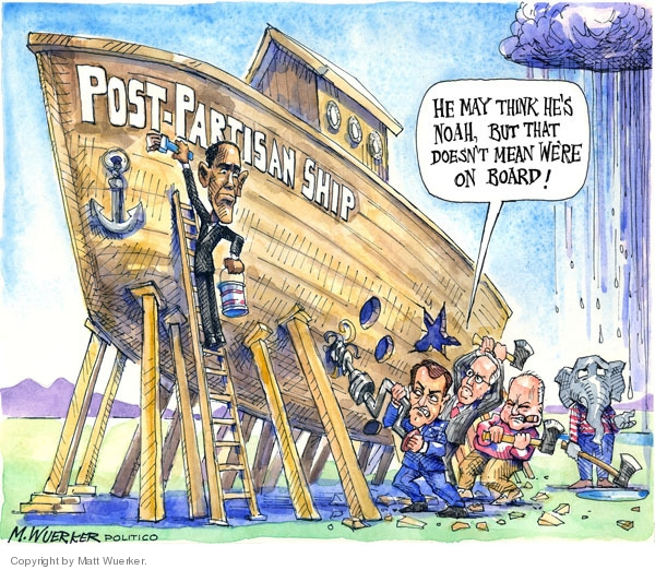 He may think hes Noah, but that doesnt mean were on board! Post-Partisan Ship.
