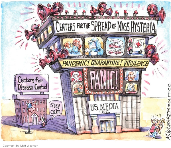 Centers for Disease Control. Stay calm. Centers for the Spread of Mass Hysteria. Pandemic! Quarantine! Virulence. Panic! US Media Inc.