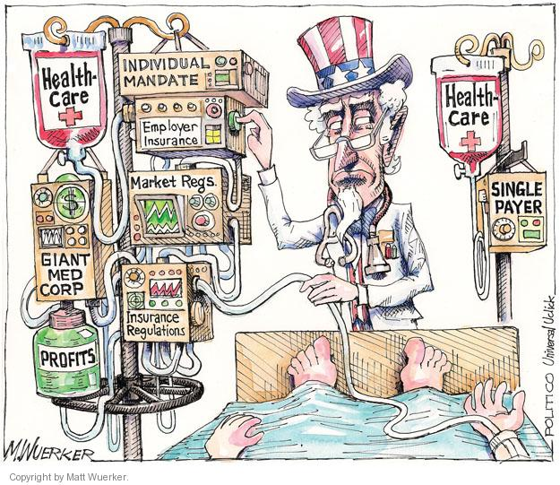 Healthcare. Individual mandate. Employer insurance. Market regs. Giant med corp. Insurance regulations. Profits. Healthcare. Single payer.