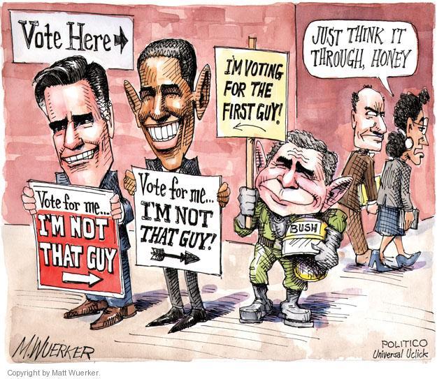 Matt Wuerker  Matt Wuerker's Editorial Cartoons 2012-11-06 Romney Bush