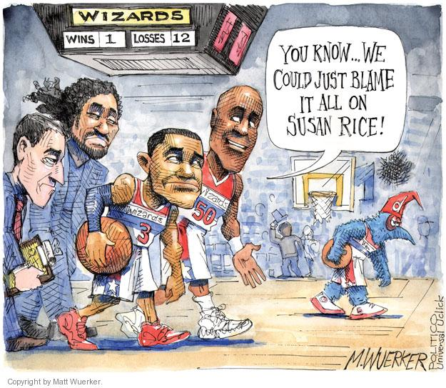 Wizards. Wins 1. Losses 12. You know … We could just blame it all on Susan Rice. D. 3. 50.