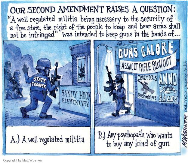Cartoonist Matt Wuerker  Matt Wuerker's Editorial Cartoons 2012-12-17 firearm