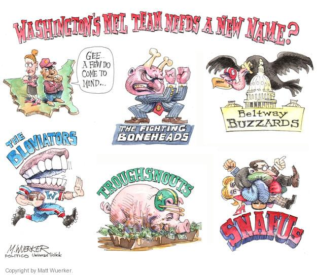Washingtons NFL Team Needs a New Name? Gee … a few do come to mind … The Fighting Boneheads. Beltway Buzzards. The Bloviators. Troughsnouts. SNAFUs.
