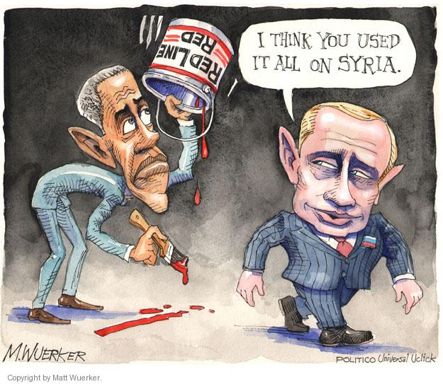 Cartoonist Matt Wuerker  Matt Wuerker's Editorial Cartoons 2014-03-04 Barack Obama Vladimir Putin Syria