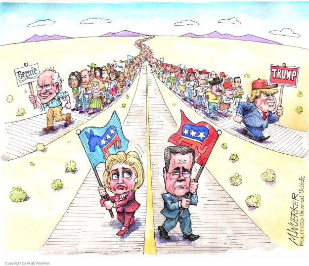 Cartoonist Matt Wuerker  Matt Wuerker's Editorial Cartoons 2015-09-18 2016 election Jeb Bush