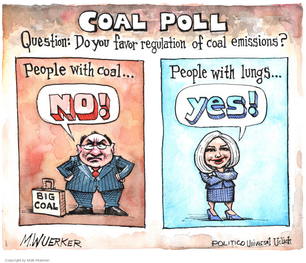 Coal poll. Question: Do you favor regulation of coal emissions? People with coal … No! Big coal. People with lungs … yes!