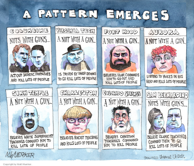 Cartoonist Matt Wuerker  Matt Wuerker's Editorial Cartoons 2015-12-04 shooting