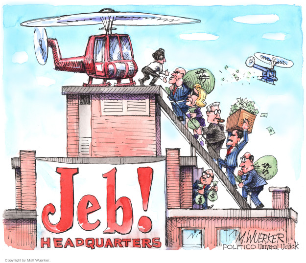 Cartoonist Matt Wuerker  Matt Wuerker's Editorial Cartoons 2016-01-26 2016 election Jeb Bush