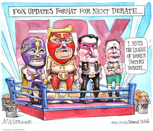 Fox updates format for next debate … Lil Marco. T. T.C. I miss the League of Women Voters debates … Mud.