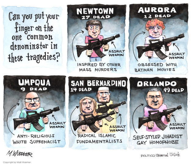 Cartoonist Matt Wuerker  Matt Wuerker's Editorial Cartoons 2016-06-15 shooting