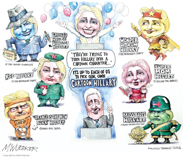 Cartoonist Matt Wuerker  Matt Wuerker's Editorial Cartoons 2016-08-03 Secretary of State