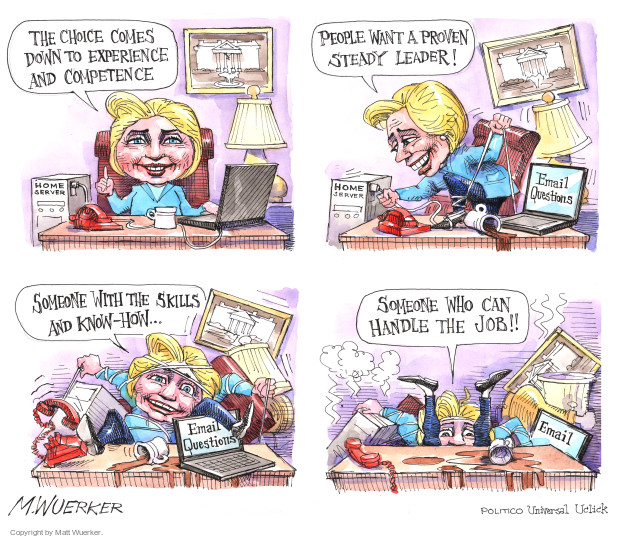 Cartoonist Matt Wuerker  Matt Wuerker's Editorial Cartoons 2016-08-13 Secretary of State