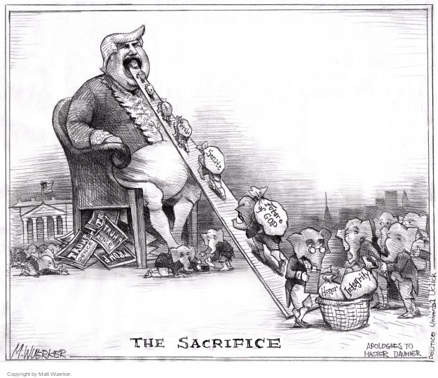 The Sacrifice. Senate. Future of GOP. Trump Pence. Integrity. Honor.  Apologies to Master Daumier.