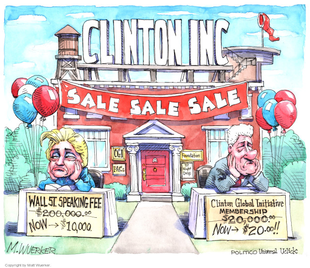 Clinton Inc. Sale sale sale. CGI. PACs. Foundation. Night Drop. Wall St. speaking fee. $200,000.00 (crossed out) now $10,000. Clinton Global Initiative Membership $20,000.00 (crossed out) now $20.00.