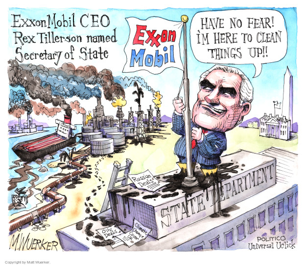 Cartoonist Matt Wuerker  Matt Wuerker's Editorial Cartoons 2016-12-15 Secretary of State