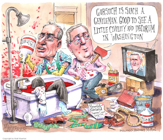 Cartoonist Matt Wuerker  Matt Wuerker's Editorial Cartoons 2017-03-24 senate majority leader