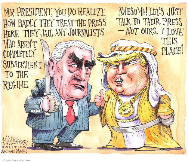 Mr. President, you do realize how badly they treat the press here. They jail any journalists who arent completely subservient to the regime. Awesome! Lets just talk to their press - not ours. I love this place! Donald of Arabia.