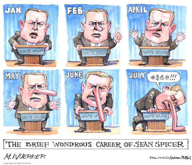 Jan. Feb. April. May. June. July. #$&@!!! The brief wondrous career of Sean Spicer.
