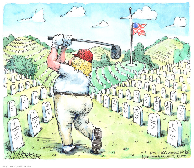 No caption (President Donald Trump plays golf in Arlington National Cemetery while the flag flies at half mast).