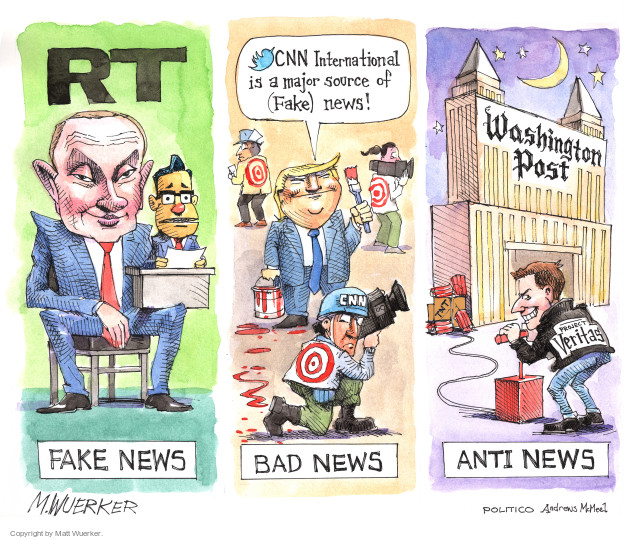 RT. Fake news. CNN International is a major source of (Fake) news! Bad news. Washington Post. Anti news.