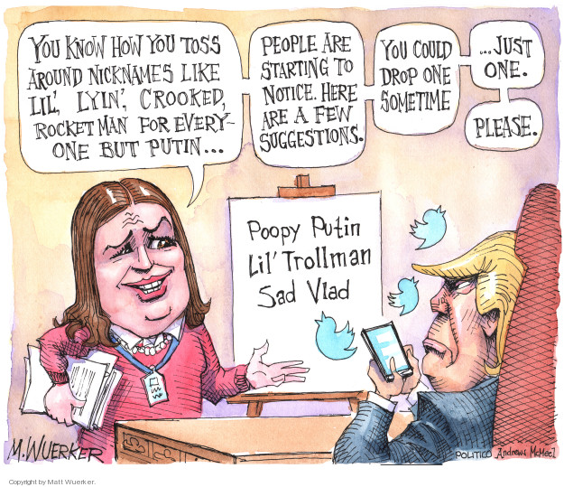 Cartoonist Matt Wuerker  Matt Wuerker's Editorial Cartoons 2018-02-22 Vladimir