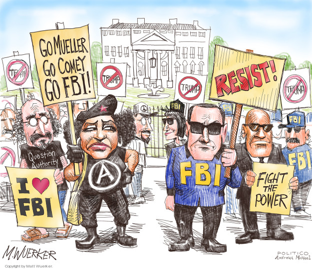 Trump (crossed out) I (heart) FBI. Question Authority. A. Go Meuller Go Comey Go FBI! Resist! FBI. Fight the Power.
