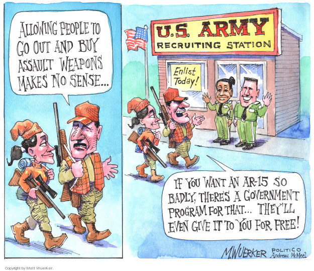Cartoonist Matt Wuerker  Matt Wuerker's Editorial Cartoons 2018-04-11 military recruit