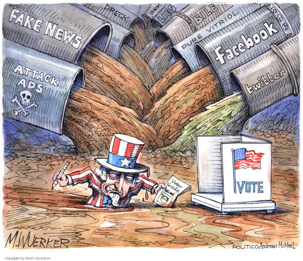 Fake news. Attack ads. Dreck. Venom. Lies. Bile. Pure vitriol. Facebook. Twitter. Vote. Voter guide.