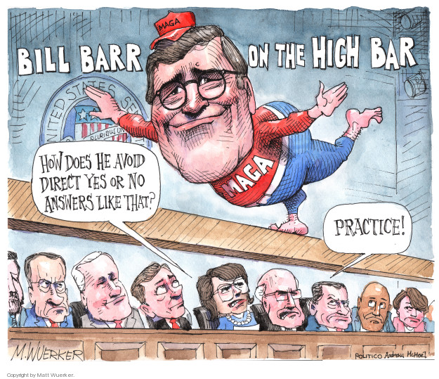 Bill Barr on the High Bar. How des he avoid direct yes or no answers like that? Practice! United States Senate … pluribus un … MAGA.