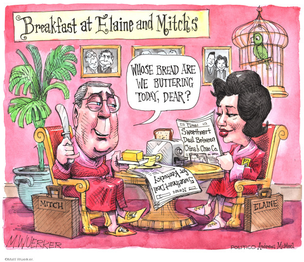 Breakfast at Elaine and Mitchs. Whose bread are we buttering today, dear? Mitch. Times. Sweetheart deal between China & Chao CO. Sweetheart deal for Kentucky. Mitch. Elaine.
