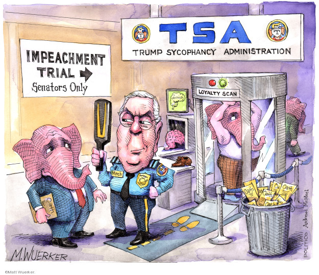 Cartoonist Matt Wuerker  Matt Wuerker's Editorial Cartoons 2020-01-16 senate majority leader
