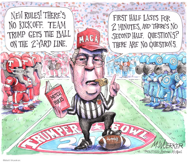 Cartoonist Matt Wuerker  Matt Wuerker's Editorial Cartoons 2020-01-21 senate majority leader
