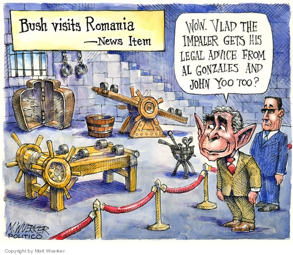 Cartoonist Matt Wuerker  Matt Wuerker's Editorial Cartoons 2008-04-09 George W. Bush Alberto Gonzales