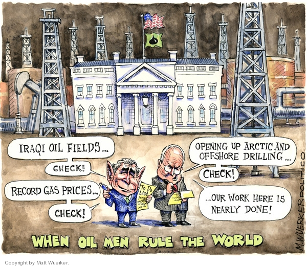 Can the West see beyond oil in the next 50 years. Not unless, they are led by their nose. (Cartoonist-Matt Wuerker; Date-25-6-2008; Courtesy-cartonistgroup.com; Copyright-Matt Wuerker).