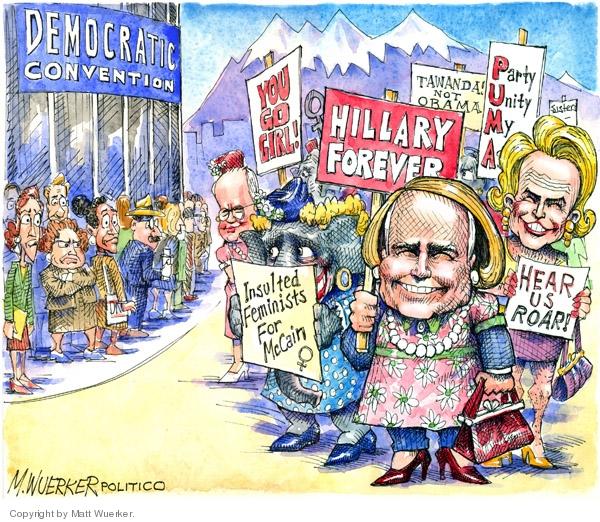 Cartoonist Matt Wuerker  Matt Wuerker's Editorial Cartoons 2008-08-25 feminist