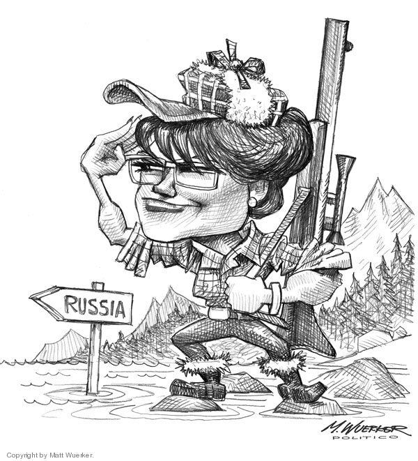 No caption. (A caricature of Sarah Palin as a hunter in the Alaskan wilderness looking toward Russia).