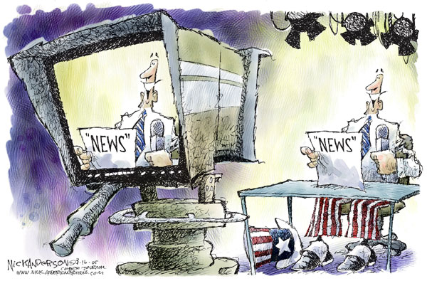 """News.""  (Uncle Sam, in a shirt and tie, reads ""news"" on a broadcast stage.)"